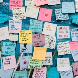 ściana zaklejona małymi biurowym karterczkami z napisami love, love trumps hate, peace, etc.